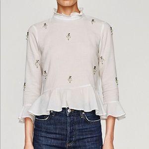 Zara Ruffled Top with Embellishments - Size M